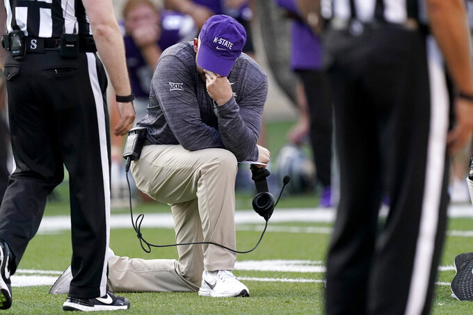 Kansas State head coach Chris Klieman reacts after Kansas State quarterback Skylar Thompson was injured during the first half of an NCAA college football game against Southern Illinois, Saturday, Sept. 11, 2021, in Manhattan, Kan.(AP Photo/Charlie Riedel)
