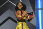 Marsai Martin presents the award for best actress at the BET Awards on Sunday, June 23, 2019, at the Microsoft Theater in Los Angeles. (Photo by Chris Pizzello/Invision/AP)