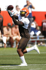Cleveland Browns wide receiver Jarvis Landry catches a pass during practice at the NFL football team's training facility Monday, Aug. 5, 2019, in Berea, Ohio. (AP Photo/Ron Schwane)