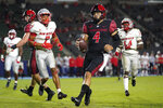 San Diego State quarterback Jordon Brookshire (4) runs to the end zone for a touchdown during the first half of an NCAA football game against New Mexico Saturday, Oct. 9, 2021, in Carson, Calif. (AP Photo/Ashley Landis)
