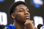 Duke forward RJ Barrett listens during an NCAA men's college basketball news conference in Washington, Saturday, March 30, 2019. Duke plays Michigan State in the East Regional final game on Sunday.(AP Photo/Alex Brandon)