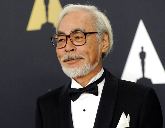 FILE - Hayao Miyazaki arrives at the 6th annual Governors Awards in Los Angeles on Nov. 8, 2014. The Academy of Motion Pictures announced a temporary exhibition