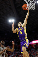 LSU guard Skylar Mays (4) scores as Georgia guard William Jackson II (0) looks on during the first half of an NCAA college basketball game Saturday, Feb. 16, 2019, in Athens, Ga. (AP Photo/John Bazemore)