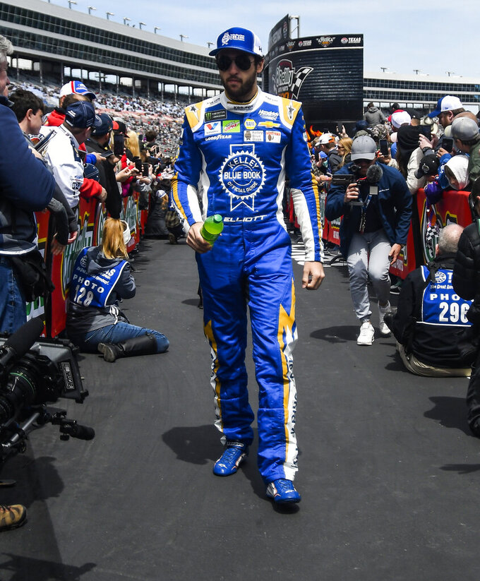 Driver Chase Elliott is seen during driver introductions before a NASCAR Cup auto race at Texas Motor Speedway, Sunday, March 31, 2019, in Fort Worth, Texas. (AP Photo/Randy Holt)