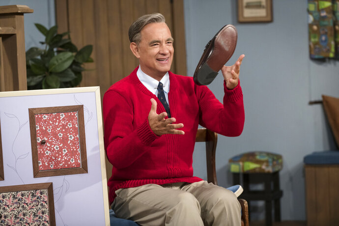 This image released by Sony Pictures shows Tom Hanks as Mister Rogers in a scene from