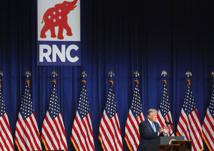 President Donald Trump speaks during the first day of the Republican National Convention Monday, Aug. 24, 2020, in Charlotte, N.C. (AP Photo/Chris Carlson) (Travis Dove/The New York Times via AP, Pool)