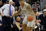 Penn State guard Myles Dread, right, battles for the ball against Northwestern guard Boo Buie during the first half of an NCAA college basketball game in Evanston, Ill., Saturday, March 7, 2020. (AP Photo/Nam Y. Huh)