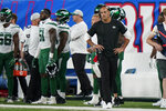 New York Jets head coach Robert Saleh works the sidelines in the first half of an NFL preseason football game against the New York Giants, Saturday, Aug. 14, 2021, in East Rutherford, N.J. (AP Photo/Corey Sipkin)