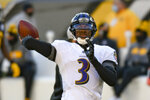 Baltimore Ravens quarterback Robert Griffin III (3) warms up before an NFL football game against the Pittsburgh Steelers, Wednesday, Dec. 2, 2020, in Pittsburgh. (AP Photo/Don Wright)