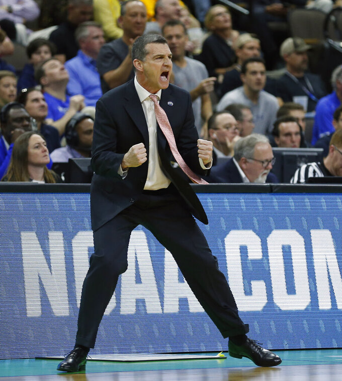 Maryland head coach Mark Turgeon shouts to players on the court during the first half of a second-round game against LS in the NCAA men's college basketball tournament in Jacksonville, Fla., Saturday, March 23, 2019. (AP Photo/Stephen B. Morton)