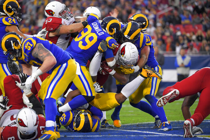 Arizona Cardinals running back Kenyan Drake scores against the Los Angeles Rams during second half of an NFL football game Sunday, Dec. 29, 2019, in Los Angeles. (AP Photo/Mark J. Terrill)