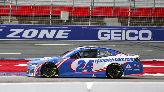 William Byron competes in a NASCAR Cup Series auto race at Charlotte Motor Speedway in Concord, N.C., Sunday, Oct. 11, 2020. (AP Photo/Nell Redmond)