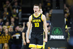 Iowa guard Joe Wieskamp celebrates during the second half of an NCAA college basketball game against Wisconsin, Monday, Jan. 27, 2020, in Iowa City, Iowa. Iowa won 68-62. (AP Photo/Charlie Neibergall)