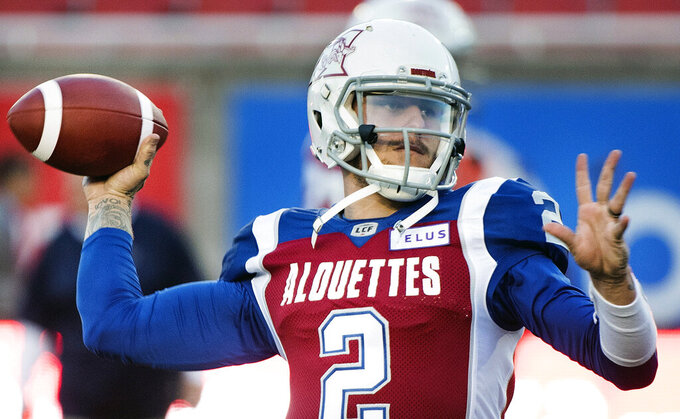 "FILE - In this Friday, Sept. 14, 2018 file photo, Montreal Alouettes quarterback Johnny Manziel throws a pass during warmups before a CFL football game against the BC Lions in Montreal. Johnny Manziel is now ""available"" to the San Antonio Commanders of the Alliance of American Football, the team's general manager said Thursday, Feb. 28, 2019.  Before acting on Manziel, the Commanders and the new league are looking into why Manziel's contract was terminated by the CFL earlier this week.(Graham Hughes/The Canadian Press via AP, File)"
