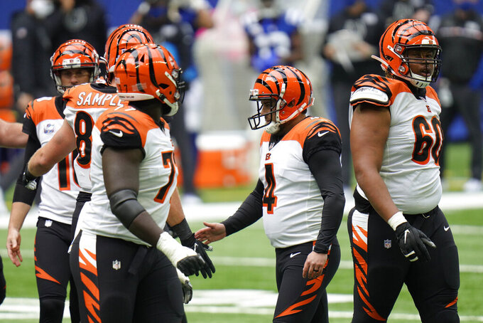 Cincinnati Bengals' Randy Bullock (4) reacts with teammates after kicking a field goal during the second half of an NFL football game against the Indianapolis Colts, Sunday, Oct. 18, 2020, in Indianapolis. (AP Photo/AJ Mast)