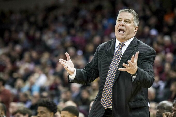 Auburn head coach Bruce Pearl shouts at an official during the first half of an NCAA college basketball game against South Carolina Tuesday, Jan. 22, 2019, in Columbia, S.C. (AP Photo/Sean Rayford)