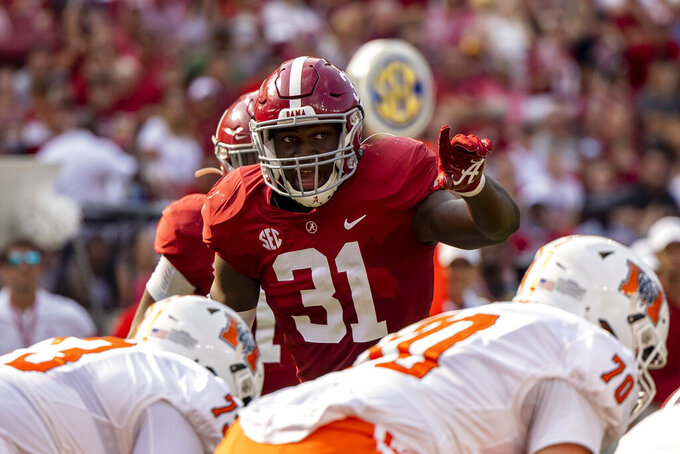 FILE - Alabama linebacker Will Anderson Jr. (31) lines up against Mercer during the first half of an NCAA college football game, Saturday, Sept. 11, 2021, in Tuscaloosa, Ala. Anderson was selected to The Associated Press Midseason All-America team, announced Tuesday, Oct. 19, 2021. (AP Photo/Vasha Hunt, File)