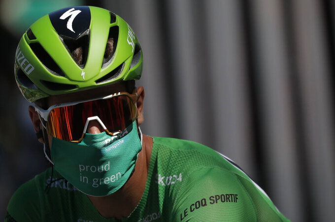 Slovakia's Peter Sagan arrives for the start of the fifth stage of the Tour de France cycling race over 183 kilometers (113,7 miles) with start in Gap and finish in Privas, southern France, Wednesday, Sept.2, 2020. (Stephane Mahe/Pool via AP)
