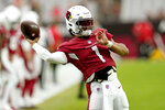 Arizona Cardinals quarterback Kyler Murray (1) warms up prior to an NFL football game against the Kansas City Chiefs, Friday, Aug. 20, 2021, in Glendale, Ariz. (AP Photo/Ross D. Franklin)