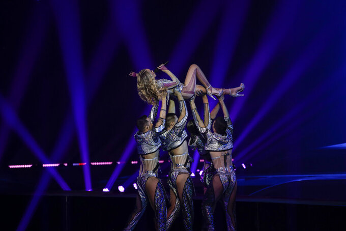 Albina from Croatia performs at the first semi-final of the Eurovision Song Contest at Ahoy arena in Rotterdam, Netherlands, Tuesday, May 18, 2021. (AP Photo/Peter Dejong)