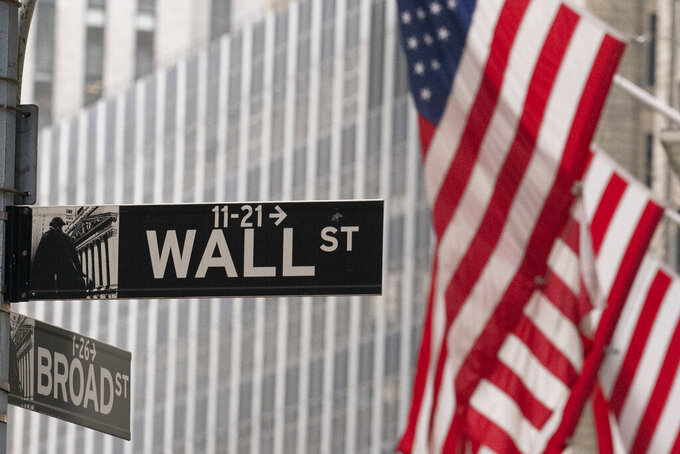 FILE - A street sign for Wall Street is seen outside the New York Stock Exchange, Thursday, Nov. 5, 2020.  One of Wall Street's big fears coming into this month was a contested U.S. presidential election.  President Donald Trump is refusing to concede even though Democrat Joe Biden secured enough electoral votes to win the presidency. Yet the S&P 500 has climbed this month back to the edge of its record high.  (AP Photo/Mark Lennihan)