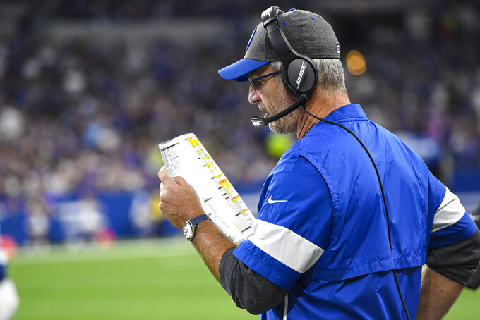 Indianapolis Colts head coach Frank Reich calls a play during the first half of an NFL football game against the Oakland Raiders in Indianapolis, Sunday, Sept. 29, 2019. (AP Photo/Doug McSchooler)
