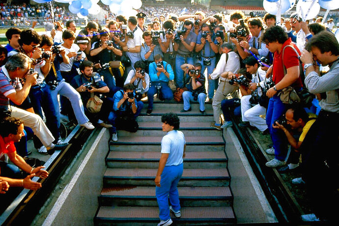 This image released by HBO shows Diego Maradona in a scene from the documentary