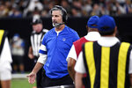 Indianapolis Colts head coach Frank Reich talks on the sideline in the first half of an NFL football game against the New Orleans Saints in New Orleans, Monday, Dec. 16, 2019. The Saints won 34-7. (AP Photo/Bill Feig)