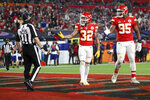 Kansas City Chiefs strong safety Tyrann Mathieu (32) reacts during the NFL Super Bowl 55 football game against the Tampa Bay Buccaneers, Sunday, Feb. 7, 2021 in Tampa, Fla. (Ben Liebenberg via AP)