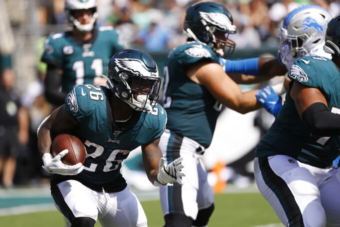 Philadelphia Eagles' Miles Sanders rushes during the first half of an NFL football game against the Detroit Lions, Sunday, Sept. 22, 2019, in Philadelphia. (AP Photo/Michael Perez)