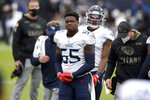Tennessee Titans inside linebacker Jayon Brown reacts while leaving the field with trainers after suffering an apparent injury during the first half of an NFL football game against the Baltimore Ravens, Sunday, Nov. 22, 2020, in Baltimore. (AP Photo/Gail Burton)