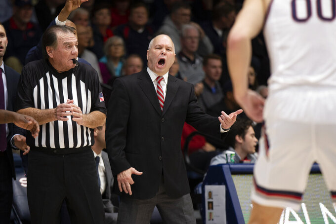 Saint Mary's coach Randy Bennett, right, reacts to his team's play against Long Beach State during the first half of an NCAA college basketball game Thursday, Nov. 14, 2019, in Moraga, Calif. (AP Photo/D. Ross Cameron)
