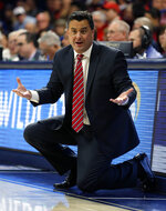 Arizona coach Sean Miller reacts to a foul call during the first half of the team's NCAA college basketball game against California on Thursday, Feb. 21, 2019, in Tucson, Ariz. (AP Photo/Rick Scuteri)