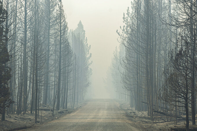 Smoke from the Bootleg Fire lingers on Thursday, July 22, 2021, near Paisley, Ore. (AP Photo/Nathan Howard)