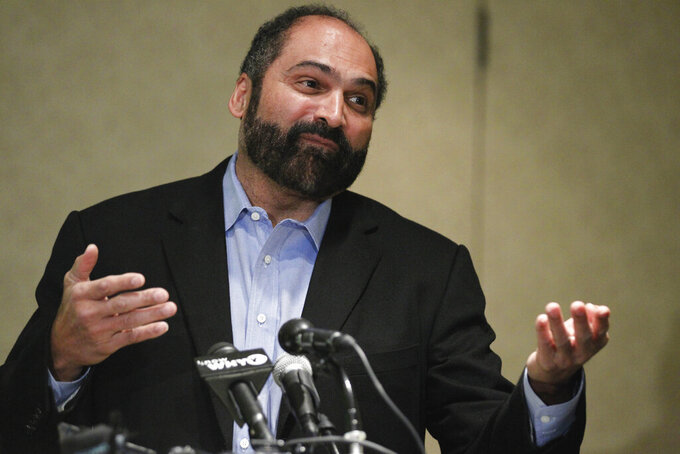 FILE - In this Jan. 12, 2012, file photo, Penn State University alumnus and NFL Hall of Famer Franco Harris gestures while speaking to alumni, in King of Prussia, Pa. As the NFL gears up for a yearlong celebration of its history for its 100th season, some of the stars who helped build the league into the behemoth it has become want to make sure the old-timers are no longer left behind. (AP Photo/Alex Brandon, File)