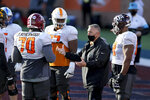 Carolina Panthers offensive line coach Pat Meyer talks to a group of players during the American team practice for the college football Senior Bowl, Thursday, Jan. 28, 2021, in Mobile, Ala. (AP Photo/Rusty Costanza)