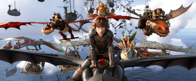 This image released by Universal Pictures shows the character Hiccup, voiced by Jay Baruchel, in a scene from DreamWorks Animation's