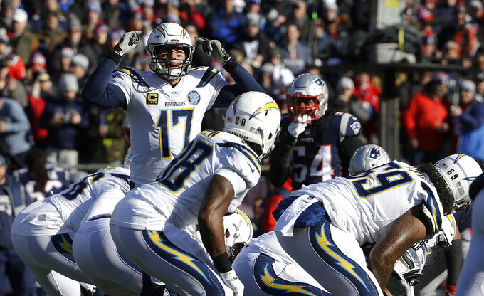 Los Angeles Chargers quarterback Philip Rivers (17) calls signals at the line of scrimmage during the first half of an NFL divisional playoff football game against the New England Patriots, Sunday, Jan. 13, 2019, in Foxborough, Mass. (AP Photo/Steven Senne)