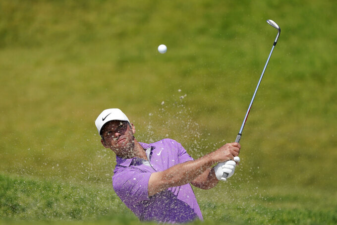 Paul Casey, of England, plays a shot from a bunker on the 11th hole during the first round of the U.S. Open Golf Championship, Thursday, June 17, 2021, at Torrey Pines Golf Course in San Diego. (AP Photo/Marcio Jose Sanchez)