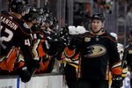 Anaheim Ducks left wing Nick Ritchie is congratulated after scoring against the Pittsburgh Penguins during the first period of an NHL hockey game in Anaheim, Calif., Friday, Jan. 11, 2019. (AP Photo/Chris Carlson)