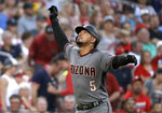 Arizona Diamondbacks' Eduardo Escobar looks skyward as he rounds the bases after hitting a solo home run during the fifth inning of the team's baseball game against the St. Louis Cardinals on Saturday, July 13, 2019, in St. Louis. (AP Photo/Jeff Roberson)