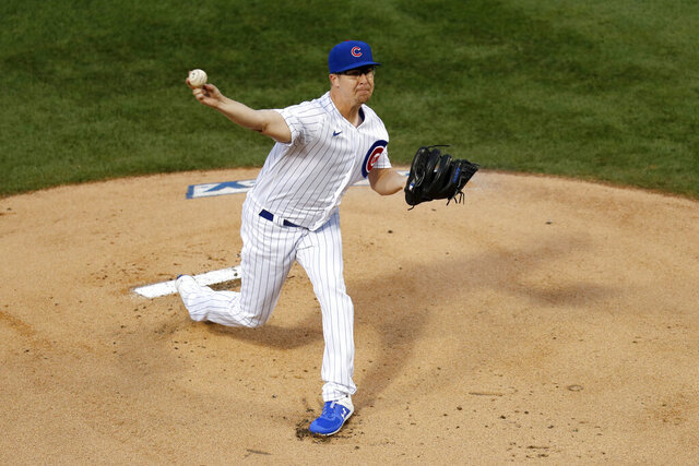 Chicago Cubs starting pitcher Alec Mills delivers during the first inning of a baseball game against the Kansas City Royals Monday, Aug. 3, 2020, in Chicago. (AP Photo/Charles Rex Arbogast)