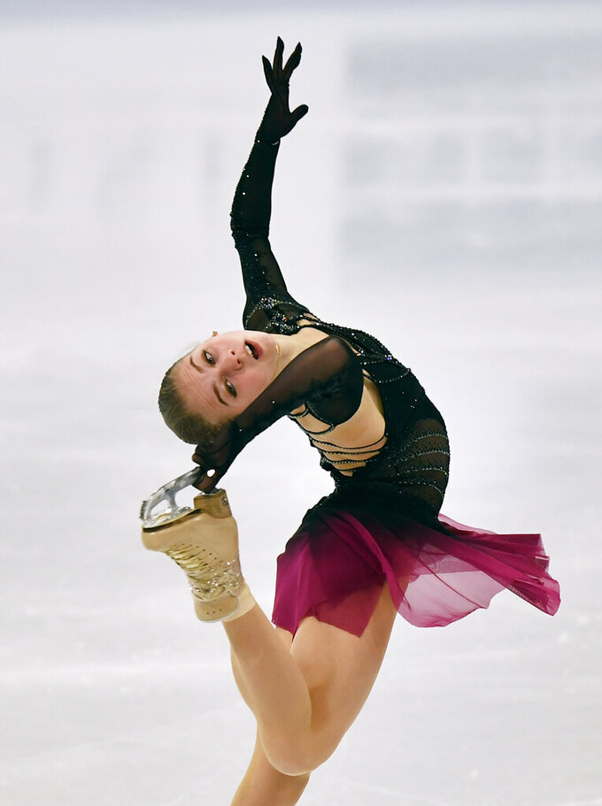 Russian skater Alexandra Trusova performs during the Ladies Free Skating at the Figure Skating World Championships in Stockholm, Sweden, Friday, March 26, 2021. (AP Photo/Martin Meissner)