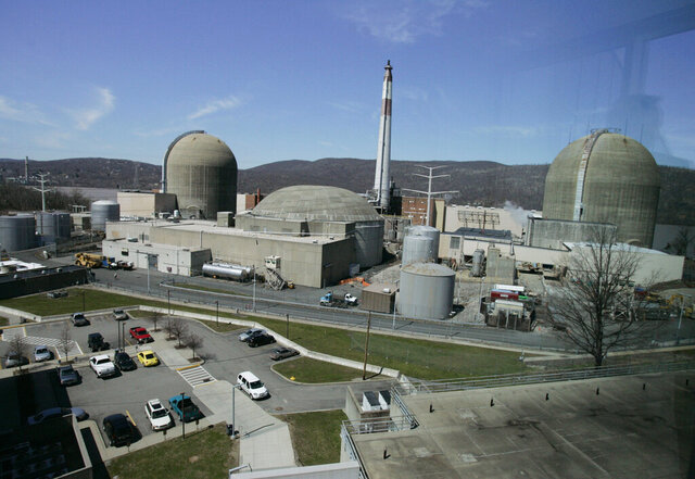 FILE- This April 20, 2007 file photo shows the Indian Point nuclear power plant in Buchanan, N.Y. The Nuclear Regulatory Commission's staff have approved the sale of the nuclear power plant north of New York City to a New Jersey company for dismantling, despite petitions from state and local officials to hold public hearings before taking action. (AP Photo/Julie Jacobson, File)