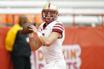 Boston College's Dennis Grosel passes the ball before an NCAA college football game against Syracuse in Syracuse, N.Y., Saturday, Nov. 2, 2019. (AP Photo/Nick Lisi)