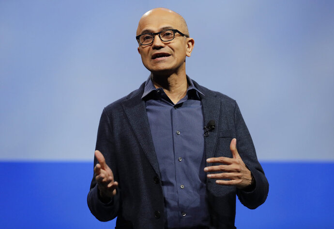 FILE - In this Nov. 28, 2018, file photo, Microsoft CEO Satya Nadella speaks during the annual Microsoft Corp. shareholders meeting in Bellevue, Wash. Top executives from Google, Microsoft, IBM, Oracle and Qualcomm are planning to meet at the White House amid strained ties between President Donald Trump's administration and the tech industry. (AP Photo/Ted S. Warren, File)