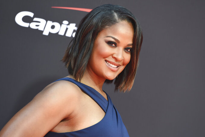FILE - In this July 10, 2019, file photo, Laila Ali arrives at the ESPY Awards in Los Angeles. Ali will host the Women's Sports Foundation awards show featuring Candace Parker, Tom Brady and Carli Lloyd. (Photo by Jordan Strauss/Invision/AP, File)