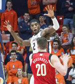 Illinois forward Kipper Nichols (2) guards Nebraska forward Tanner Borchardt (20) during the second half of an NCAA college basketball game in Champaign, Ill., Saturday. Feb. 2, 2019. (AP Photo/Robin Scholz)