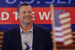 Former Kansas Secretary of State Kris Kobach addresses the crowd as he announces his candidacy for the Republican nomination for the U.S. Senate, Monday, July 8, 2019, in Leavenworth, Kan. (AP Photo/Charlie Riedel)