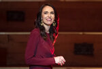 New Zealand Prime Minister Jacinda Ardern walks onto the stage to give her victory speech to Labour Party members at an event in Auckland, New Zealand, Saturday, Oct. 17, 2020. (AP Photo/Mark Baker)